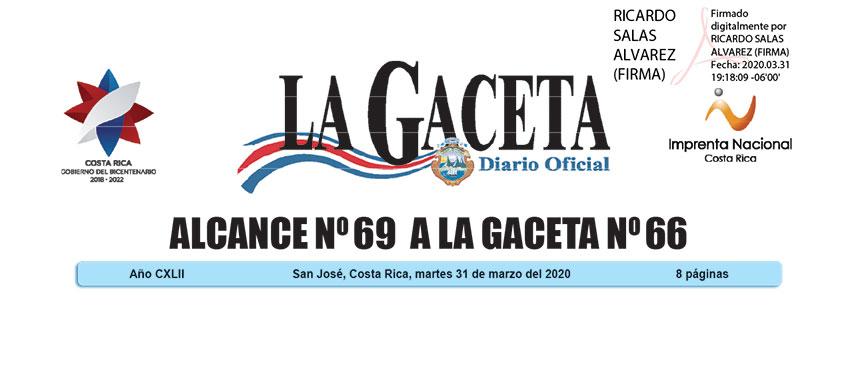Alcance no. 69 - La Gaceta