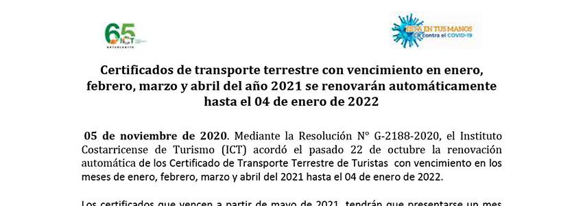 Certificados de transporte terrestre con vencimiento en enero, febrero, marzo y abril del año 2021 se renovarán automáticamente