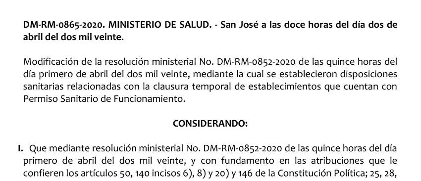 Resolución Ministerial DM RM 0865 2020