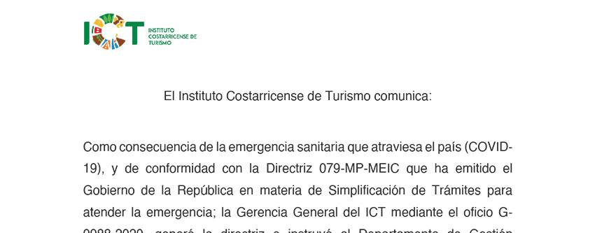 Directriz G-0988-2020 ICT Extensión vigencia Credenciales Guías y Certificados Transporte Terrestre Turistas