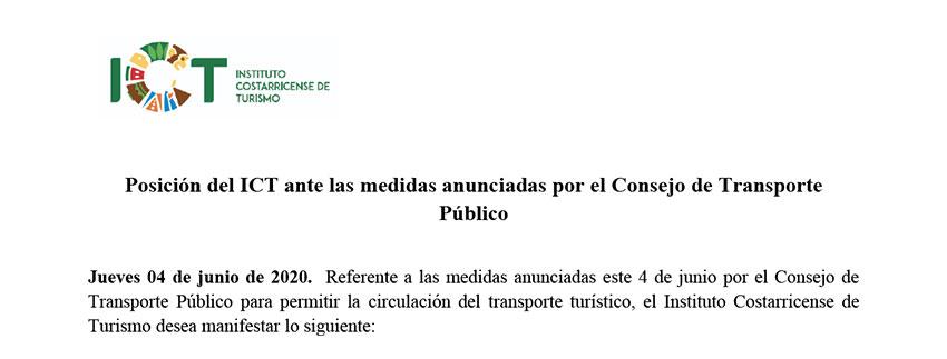 Posición oficial del ICT ante medidas del CTP 04 Junio 2020