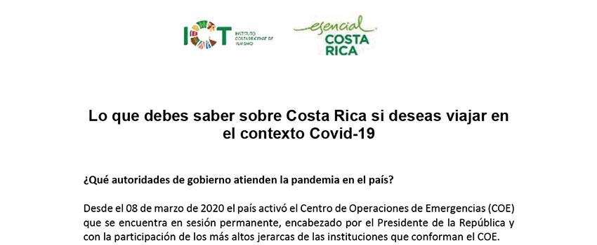 Preguntas frecuentes sobre Costa Rica en el Contexto Covid 19
