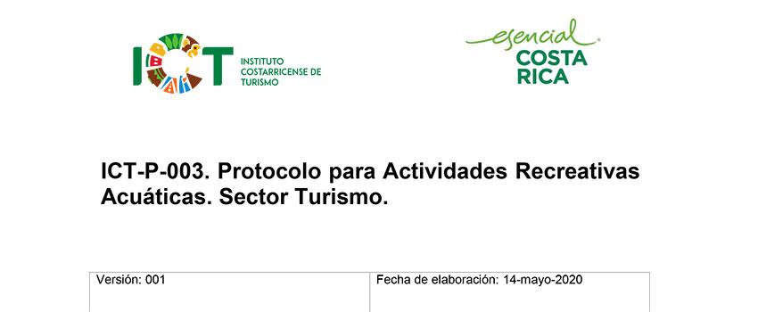 Protocolo ICT-P-003 Actividades Recreativas Acuáticas. Sector Turismo