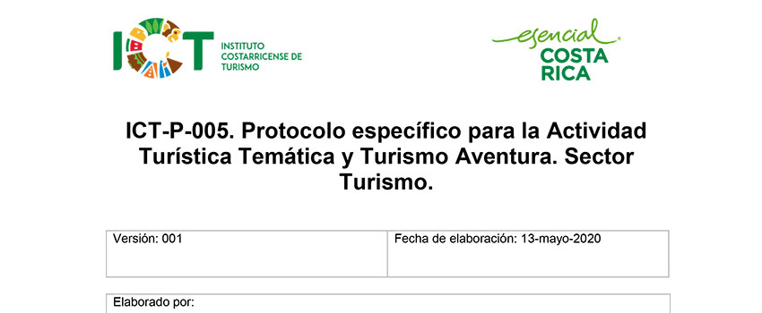 Protocolo ICT-P-005 Sub sector Actividades Temáticas y Turismo Aventura