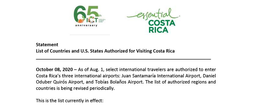 Statement List of Countries and U S states Authorized for Visiting Costa Rica 10-08-20
