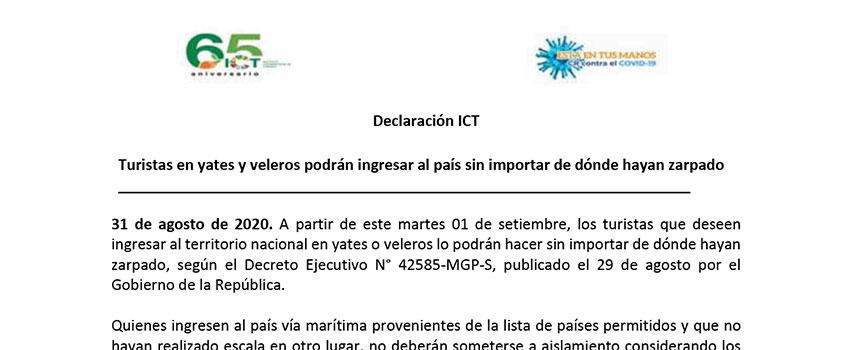 Statement aclaratorio ingreso en yates y veleros 01-09-2020